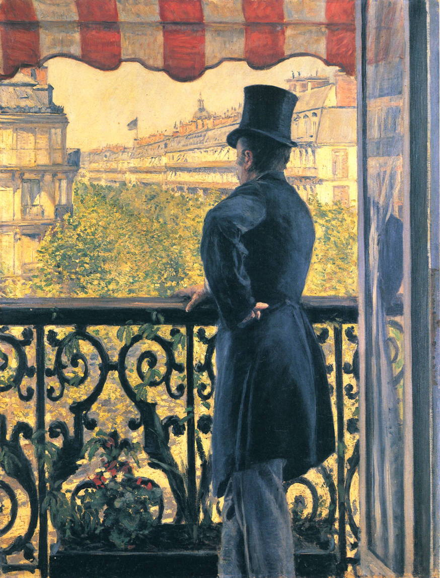 Gustave Caillebotte, Man on a Balcony, Boulevard Haussmann (1880), oil on canvas, 116.5 x 89.5 cm, Private collection. WikiArt.