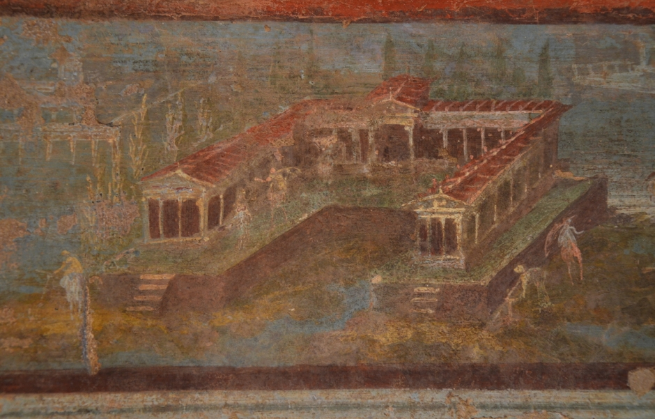 Anonymous, Maritime Villa with Fishermen (before 79 CE), fresco, originally from the Temple of Isis in Pompeii, Museo Archeologico Nazionale di Napoli, Italy. By Carole Raddato from FRANKFURT, Germany, via Wikimedia Commons.