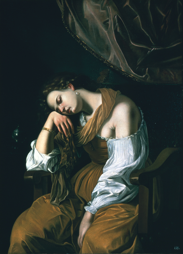 Artemisia Gentileschi, Mary Magdalene as Melancholy (1621-2), oil on canvas, 136.5 x 100 cm, Soumaya Museum, Mexico City. Wikimedia Commons.