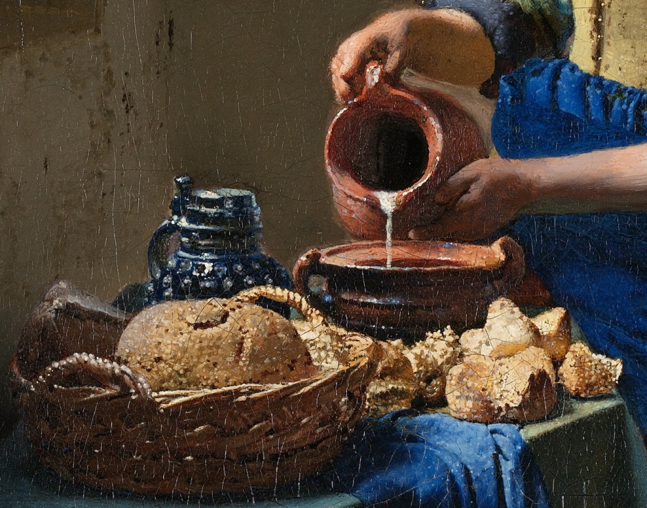 Johannes Vermeer, The Milkmaid (detail) (c 1658-1661), oil on canvas, 45.5 x 41 cm, The Rijksmuseum, Amsterdam. WikiArt.