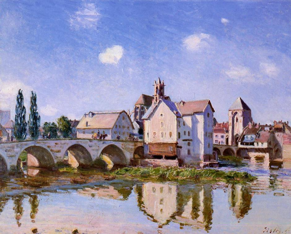 Alfred Sisley, Moret Bridge in the Sunlight (1892), oil on canvas, 65 x 81 cm, Private collection. WikiArt.