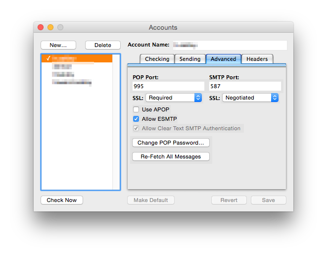 Advanced settings for a POP and SMTP service in a third-party mail client.