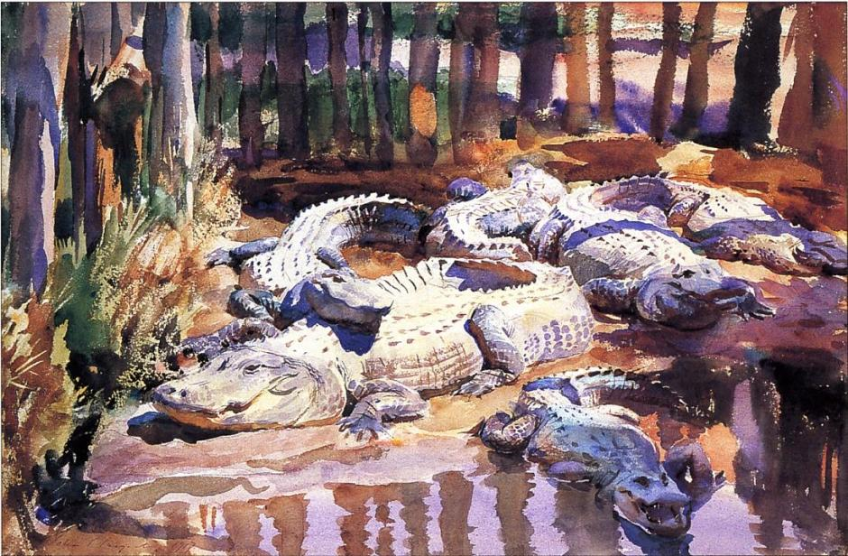 John Singer Sargent, Muddy Alligators (1917), watercolour and graphite on paper, 35.5 x 53 cm, Worcester Art Museum, Worcester, MA. WikiArt.