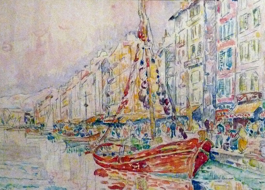 Paul Signac, The Old Port of Marseilles (1931), watercolour and crayon, Musée Albert André, Bagnols-sur-Cèze, France. WikiArt, Wikimedia Commons.