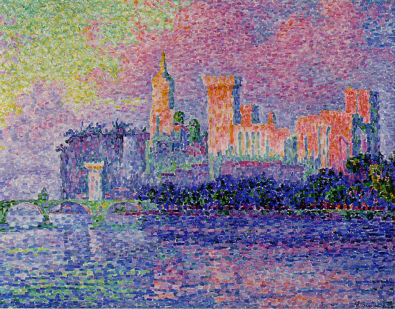 Paul Signac, Avignon, Evening (The Papal Palace) (1909), oil on canvas, 73.5 x 92.5 cm, Musée d'Orsay, Paris. WikiArt.