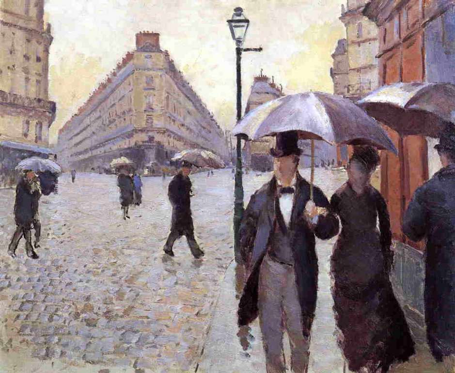Gustave Caillebotte, Paris, a Rainy Day (study) (1877), oil on canvas, 54 x 65 cm, Musée Marmottan, Paris. WikiArt.