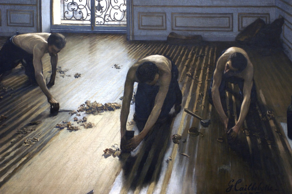 Gustave Caillebotte, The Floor Scrapers (Parquet Planers) (1875), oil on canvas, 102 x 146.5 cm, Musée d'Orsay, Paris. WikiArt.