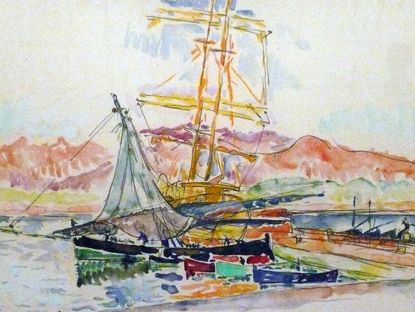 Paul Signac, Corsican Landscape (Ajaccio) (1931), watercolour and graphite, 28 x 43 cm, Musée National d'Art Moderne, Centre Pompidou, Paris. WikiArt.