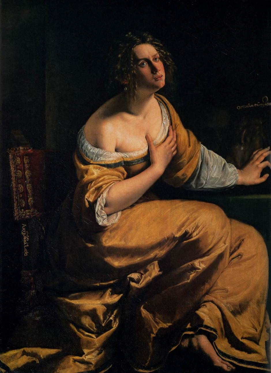 Artemisia Gentileschi, Conversion of the Magdalene (1615-6), oil on canvas, 146 x 109 cm, Galleria Palatina, Florence. Wikimedia Commons.