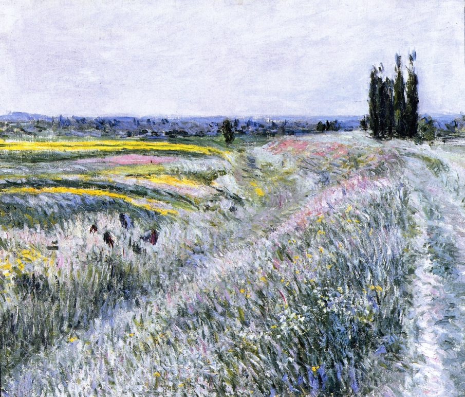 Gustave Caillebotte, The Plain at Gennevilliers, A Group of Poplars (1883), oil on canvas, 54.3 x 65 cm, Private collection. WikiArt.