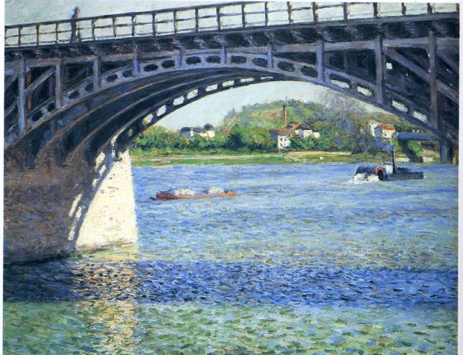Gustave Caillebotte, The Bridge at Argenteuil and the Seine (1885), oil on canvas, 65.5 x 81.6 cm, Private collection. WikiArt.