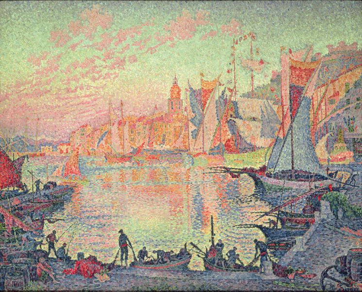 Paul Signac, The Port of Saint-Tropez (1901-2), oil on canvas, 131 x 161.5 cm, National Museum of Western Art, Tokyo. WikiArt.
