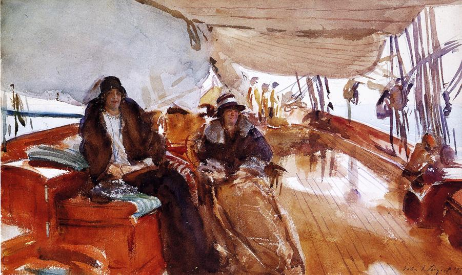 John Singer Sargent, Rainy Day on the Deck of the Yacht Constellation (1924), watercolour on paper, 33.6 x 53.3 cm, Private collection. WikiArt.