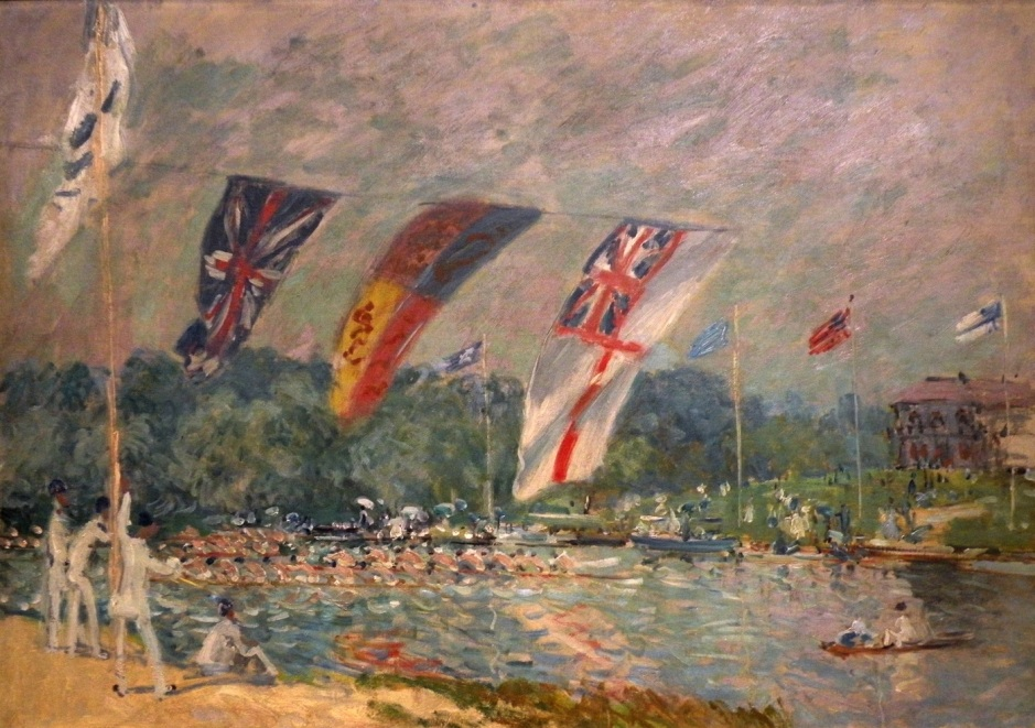Alfred Sisley, Regattas at Molesey (1874), oil on canvas, 66 x 91.5 cm, Musée d'Orsay, Paris. EHN & DIJ Oakley.