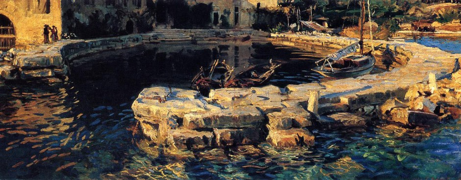 John Singer Sargent, San Vigilio, Lake Garda (1913), oil on canvas, 72.1 x 183.8 cm, Lord Beaverbrook Art Gallery, New Brunswick, Canada. WikiArt.