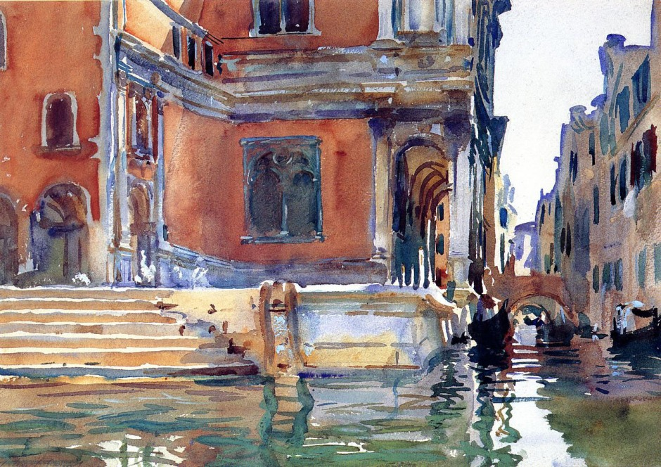 John Singer Sargent, Scuola di San Rocco (c 1903), watercolour on paper, 35.6 x 50.8 cm, Private collection. WikiArt.
