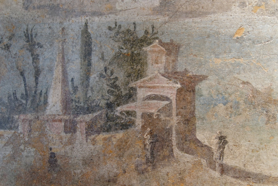 Anonymous, Sea Landscape (before 79 CE), fresco, 42 x 72 cm, originally from the Villa at Boscoreale, Italy, Musée du Louvre, Paris. By Marie-Lan Nguyen, via Wikimedia Commons.