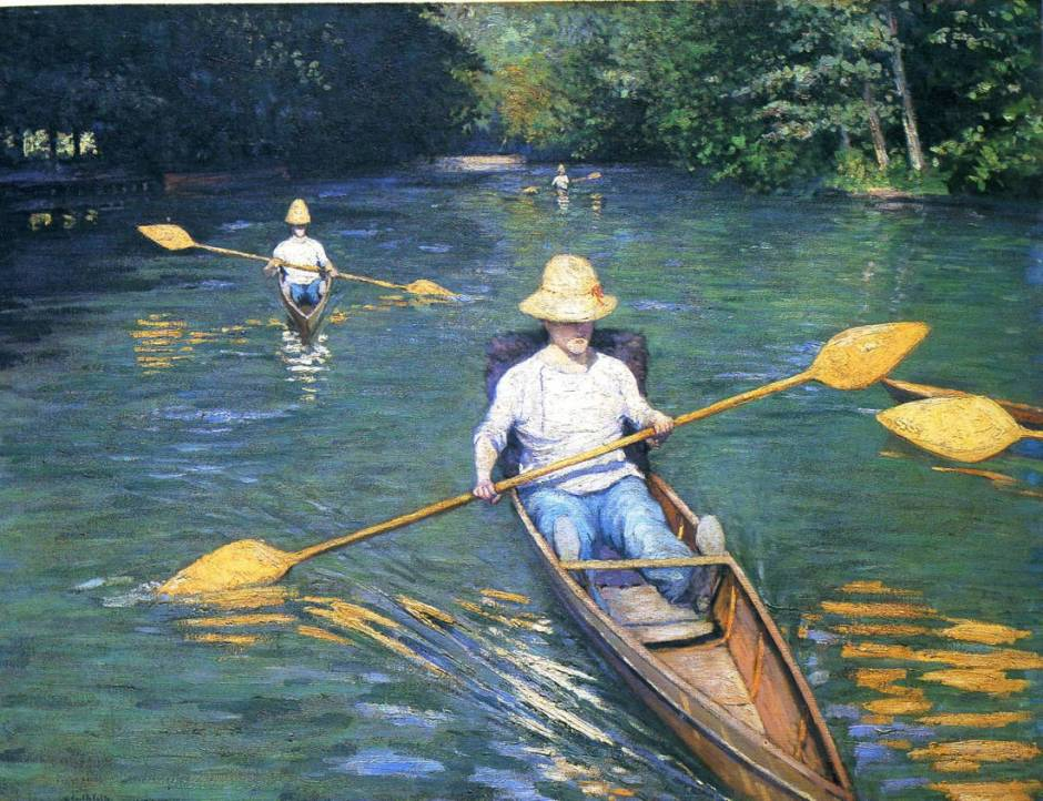 Gustave Caillebotte, Périssoires sur l'Yerres (Skiffs on the Yerres) (1877), oil on canvas, 88.9 x 116.2 cm, National Gallery of Art, Washington DC. WikiArt.