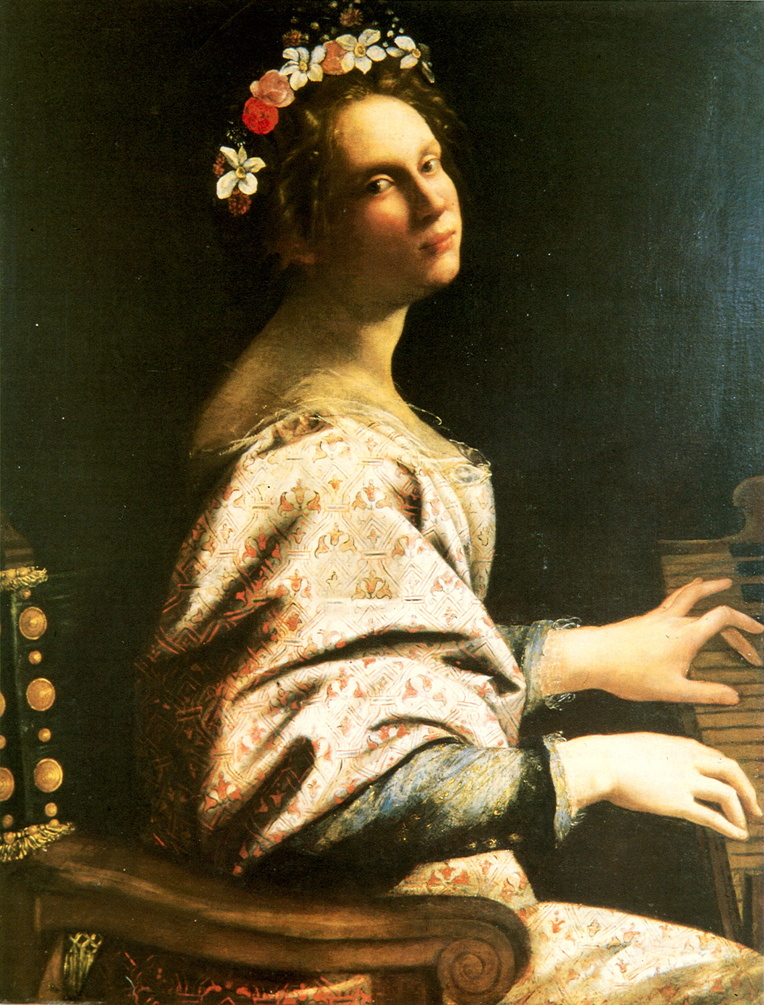 Artemisia Gentileschi, Saint Cecilia (c 1620), oil on canvas, 91.4 x 71.9 cm, Private collection. Wikimedia Commons.