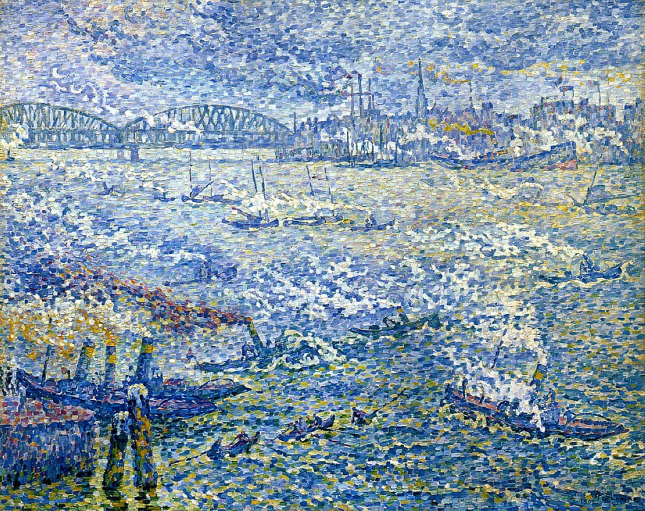 Paul Signac, Steamboats, Rotterdam (1906), oil on canvas, 73 x 92 cm, Shimane Art Museum, Shimane, Japan. WikiArt.