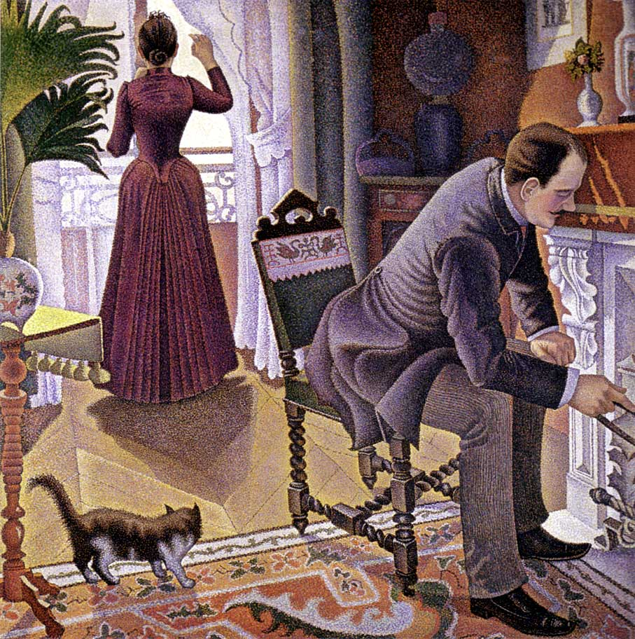 Paul Signac, Un Dimanche (Sunday) (1888-90), oil on canvas, 150 x 150 cm, Private collection. WikiArt, Wikimedia Commons.