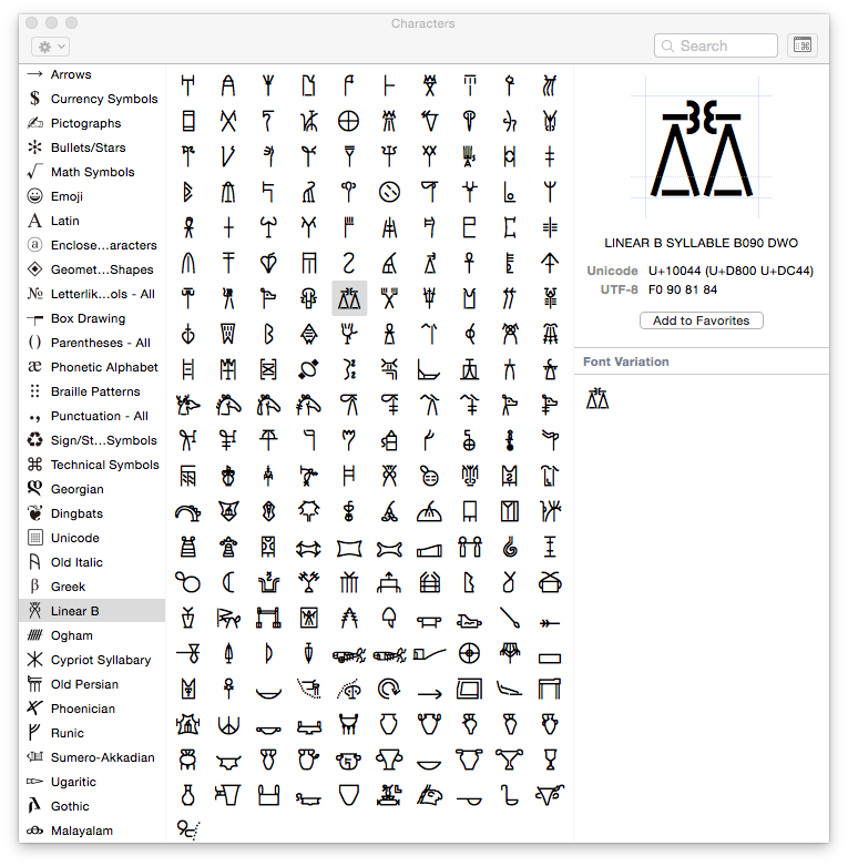 View Unicode characters using the Character Viewer built into OS X.