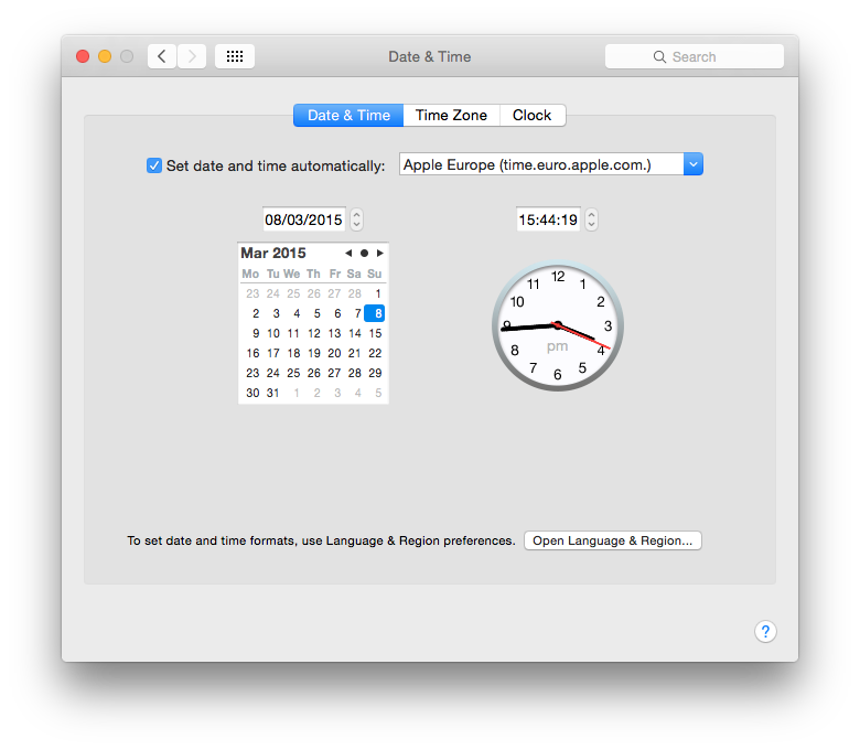 The Date & Time pane in System Preferences provides a friendly front-end to the NTP service.