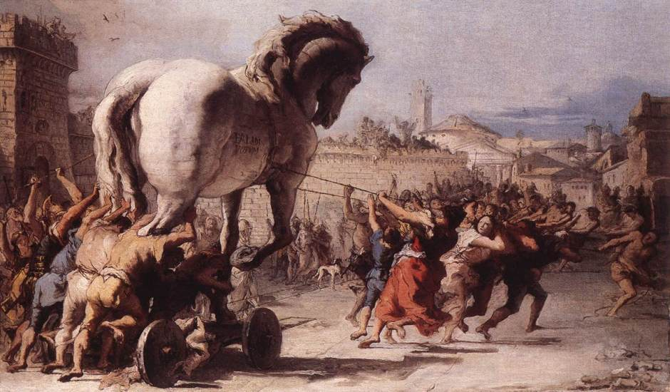 Giovanni Domenico Tiepolo, The Procession of the Trojan Horse in Troy (1773), oil on canvas, 39 x 67 cm. Wikimedia Commons and WikiArt.
