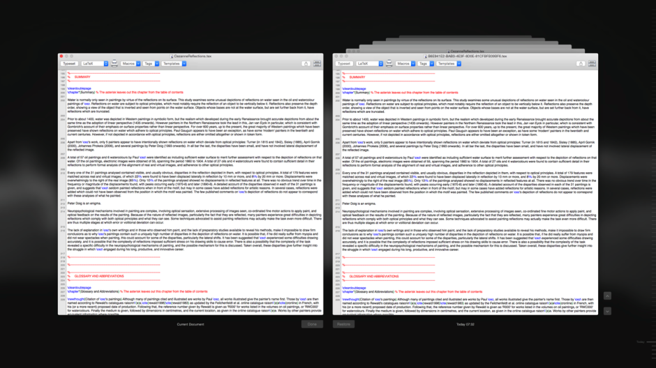 OS X's version browser is identical to that of Time Machine, but does not offer any facility to compare versions.