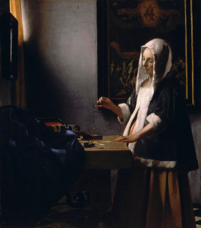 Johannes Vermeer, Woman Holding a Balance (c 1662-5), oil on canvas, 42.5 x 38 cm, The National Gallery of Art, Washington DC. WikiArt.