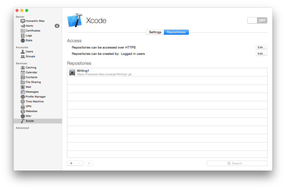 Create a repository for Xcode Server to offer to clients, by clicking on the + button.