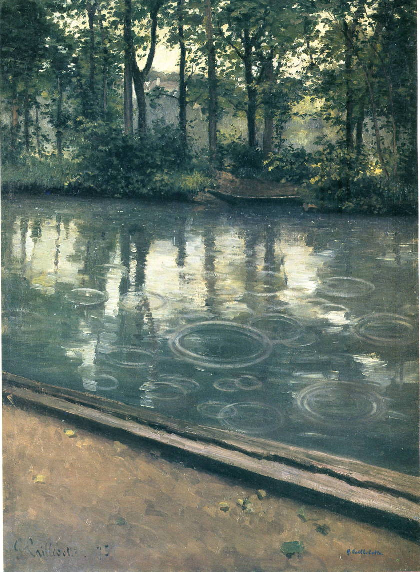 Gustave Caillebotte, Rain on the Yerres (1875), oil on canvas, 81 x 59 cm, Indiana University Art Museum, Bloomington IN. WikiArt.