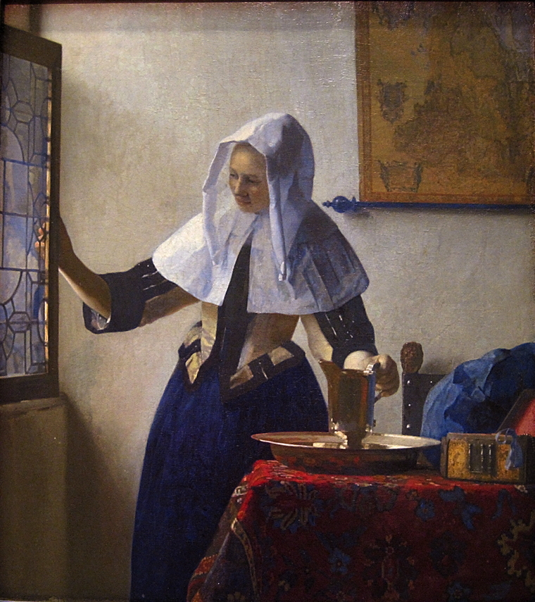 Johannes Vermeer, A Young Woman with a Water Pitcher (c 1662-5), oil on canvas, 45.7 x 40.6 cm, The Metropolitan Museum of Art, New York. WikiArt.