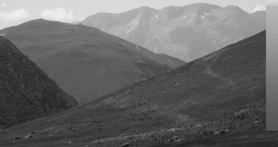 The same image, desaturated to monochrome, to show the different lightness and contrast with distance. © EHN & DIJ Oakley.