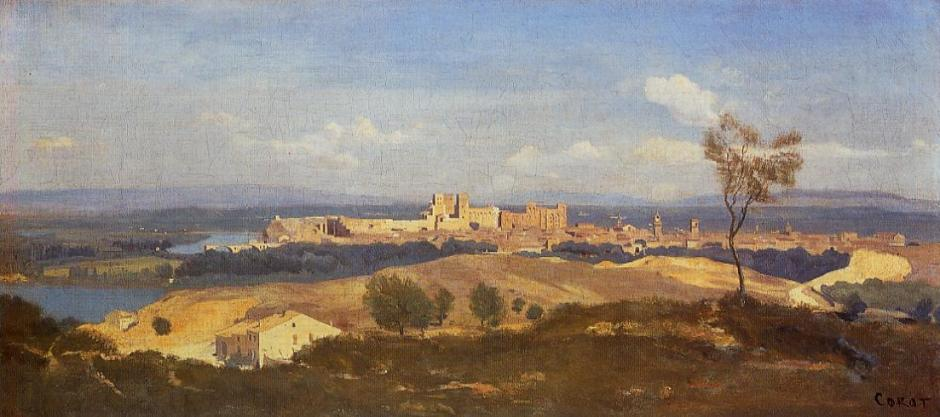 Jean-Baptiste-Camille Corot, Avignon from the West (1836), oil on canvas, 34 x 73.2 cm, The National Gallery, London. WikiArt.