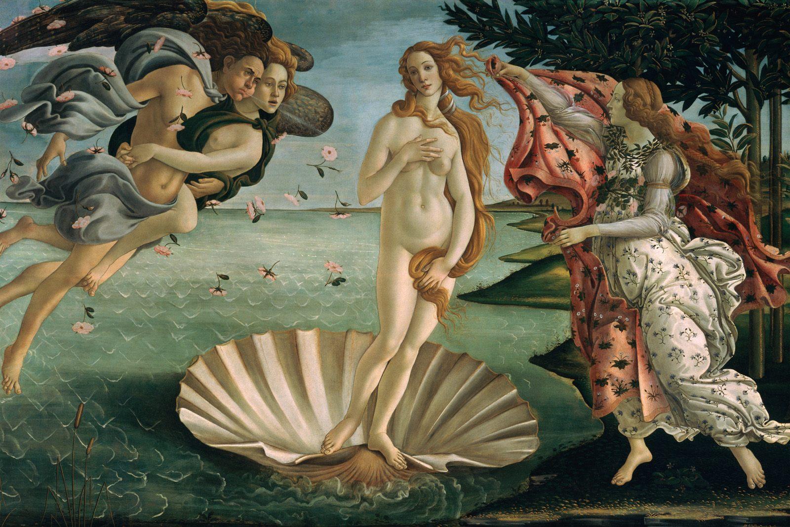 Sandro Botticelli (Alessandro di Mariano di Vanni Filipepi), The Birth of Venus (c 1486), tempera on canvas, 172.5 x 278.9 cm, Galleria degli Uffizi, Florence. WikiArt.