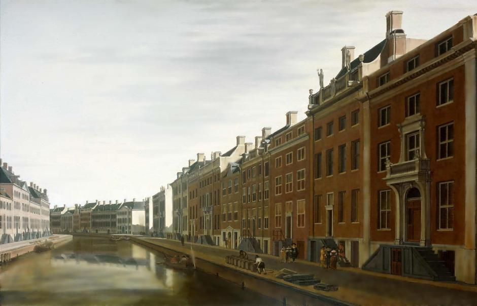 Gerrit Adriaensz Berckheyde, The Bend in the Herengracht near the Nieuwe Spiegelstraat in Amsterdam, 1672. Texture has been blurred out here, showing a reduction in perceived depth.