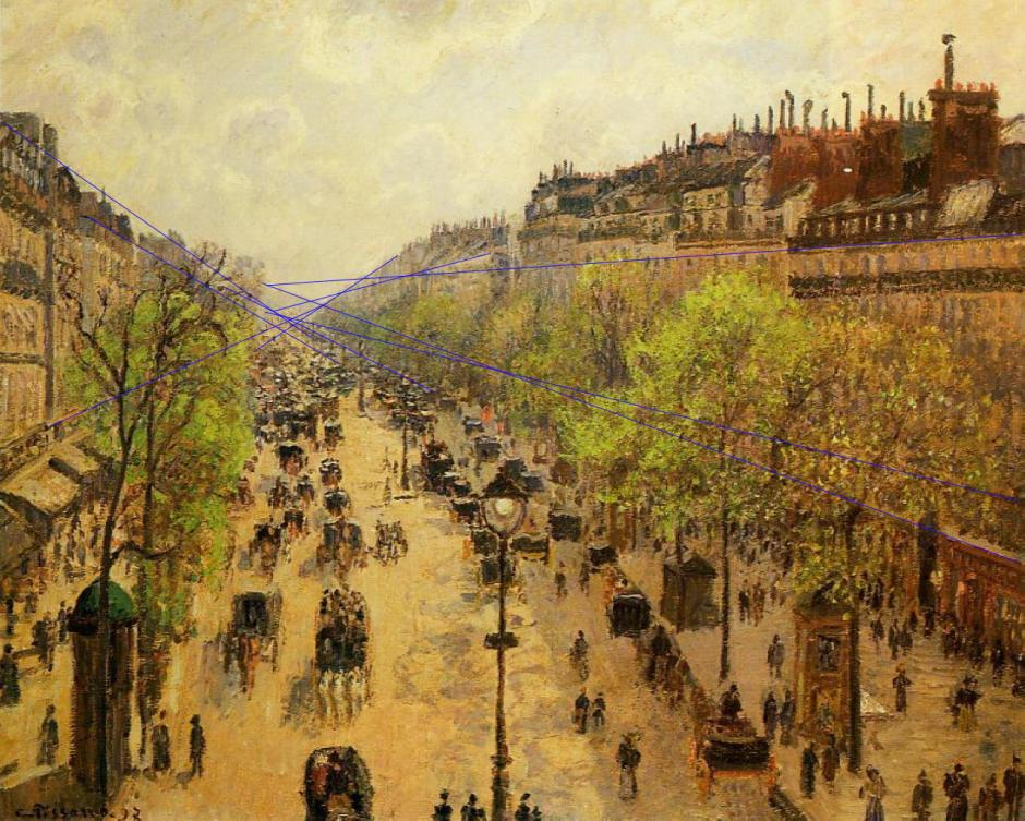Camille Pissarro, Boulevard Montmartre, Spring (projection marked) (1897), oil on canvas, 65 x 81 cm, Israel Museum, Jerusalem. WikiArt.