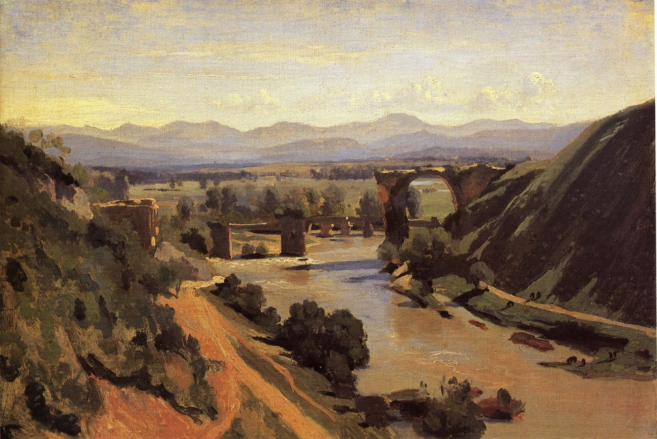 Jean-Baptiste-Camille Corot, The Bridge at Narni (1826), oil on paper, 34 x 48 cm, Musée du Louvre, Paris. WikiArt.