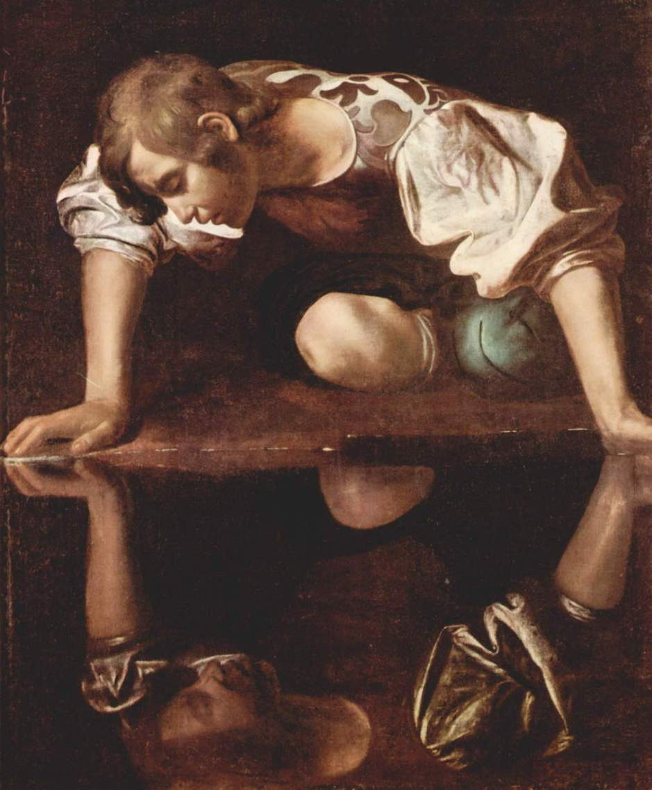 Caravaggio, Narcissus (1597-1599), oil on canvas, 110 x 92 cm, Galleria Nazionale d'Arte Antica, Rome. WikiArt.
