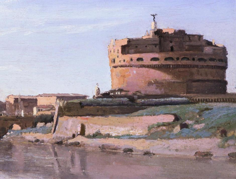 Jean-Baptiste-Camille Corot, View of Rome: The Bridge and Castel Sant'Angelo with the Cupola of St. Peter's (detail) (1826-7), oil on paper on canvas, 26.7 x 43.2 cm, Fine Arts Museums of San Francisco. WikiArt.