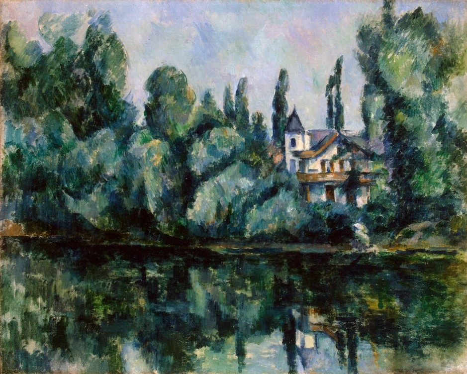 Paul Cézanne, Bords de la Marne I (l'Île Machefer à Saint- Maur-des-Fossés) (1888-94) R623, oil on canvas, 65 x 81 cm, Hermitage Museum, St Petersburg. WikiArt.