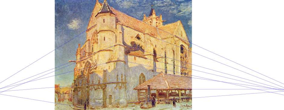Alfred Sisley, The Church at Moret (projection marked) (1893), oil on canvas, 65 x 81 cm, Musée des Beaux-Arts, Rouen. WikiArt.