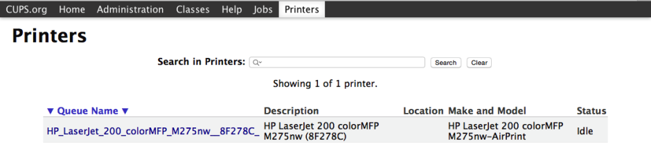 CUPS printer page, listing all currently-installed printers.