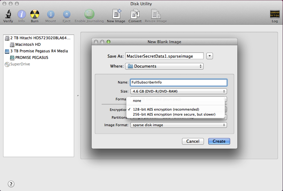 Creating an encrypted disk image using Disk Utility.