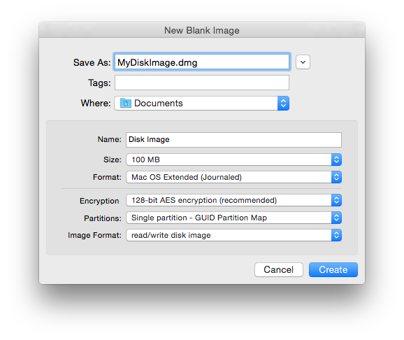Disk Utility offers a lot of options when you create a new disk image.