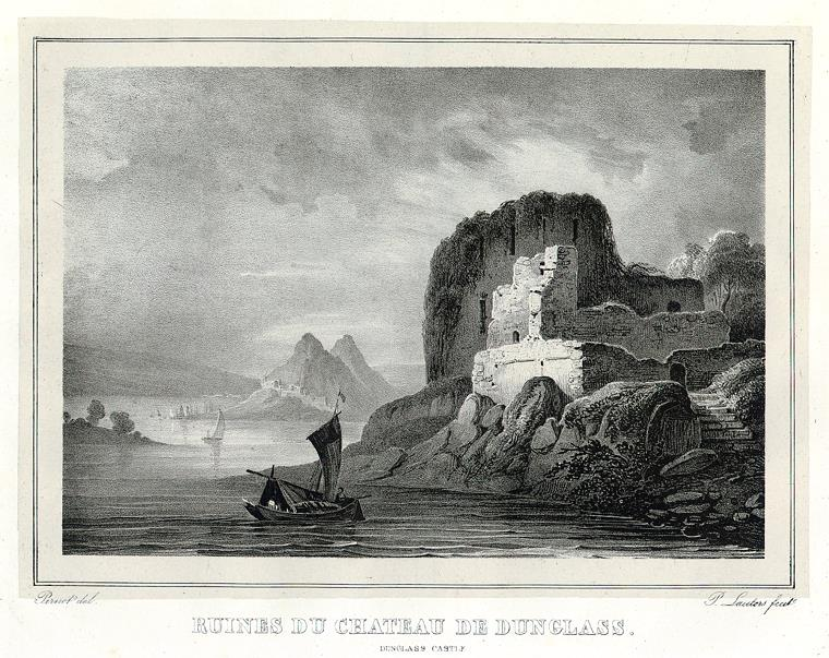 Dunglass Castle, engraving. Drawn by F.A.Pernot and printed by A.Dewasme, via Wikimedia Commons. An engraving with careful texture gradient, adding depth.