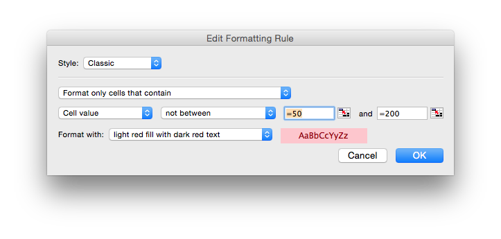 Excel's Conditional Formatting rules are simple to set up.