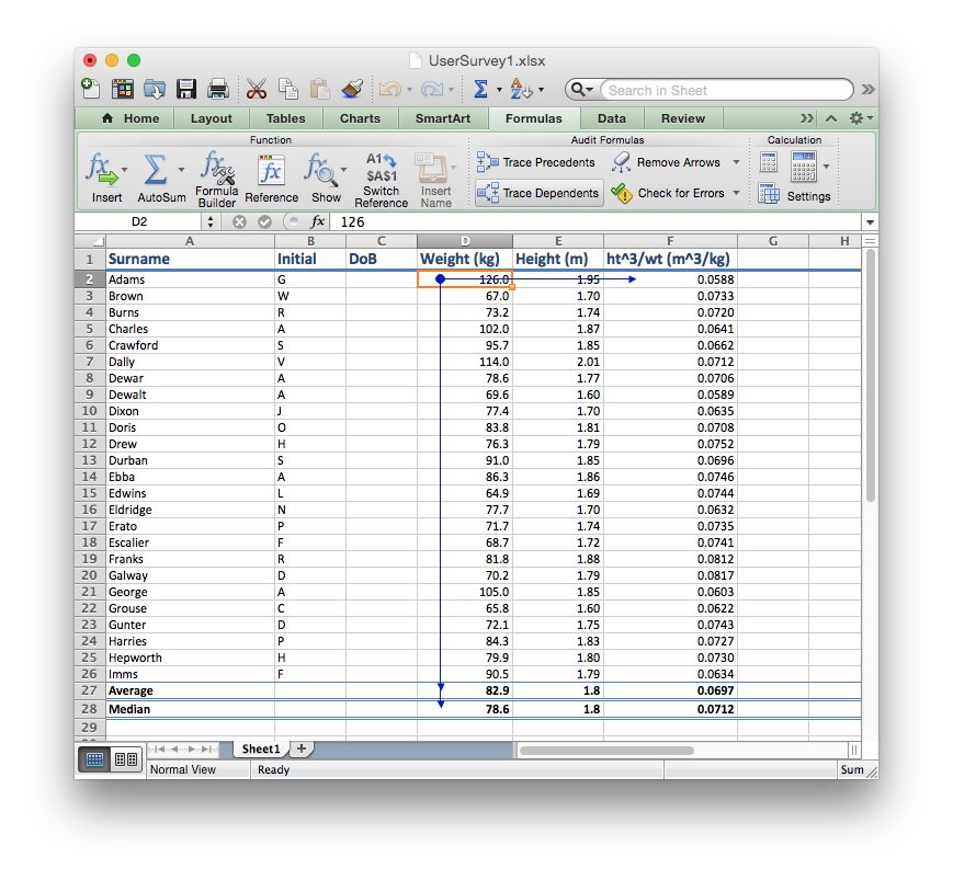 The Trace Dependents tool in Audit Features shows you which cells depend on which.