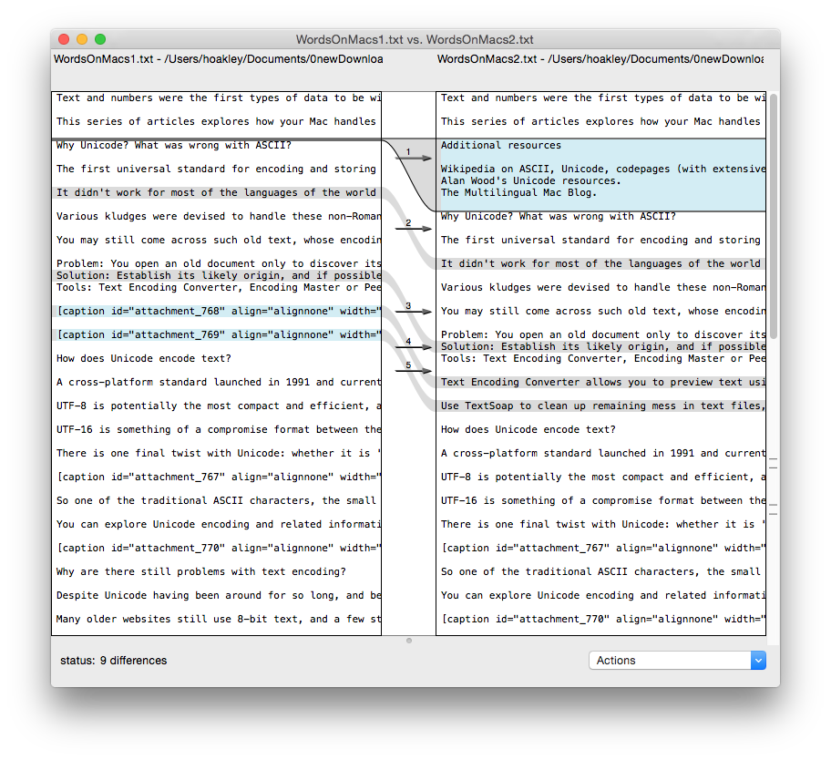 FileMerge, free with Xcode, has a solid interface to a professional compare and merge engine.